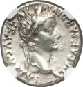 Ancients:Roman Imperial, Ancients: Tiberius (AD 14-37). AR denarius (18mm, 3.65 gm, 3h). NGC AU 4/5 - 3/5....