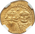 Ancients:Byzantine, Ancients: Heraclius (AD 613-641) and Heraclius Constantine. AVsolidus (21mm, 7h). NGC Choice AU....
