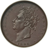 Great Britain: George IV bronzed Proof Farthing 1826 PR65 ANACS