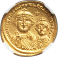 Ancients:Byzantine, Ancients: Heraclius (AD 610-641), with Heraclius Constantine. AVsolidus (21mm, 4.53gm, 7h). NGC MS 5/5 - 3/5....