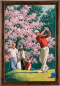 """Golf Collectibles:Miscellaneous, 1977 """"Springtime on the Tee"""" Original Painting by ArthurSarnoff...."""