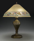 Glass, Handel Reverse Painted Glass Shade with Pairpoint Gilt Metal Base. Early 20th century. Base stamped PAIRPOINT, P, D3054...