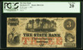 Obsoletes By State:Connecticut, Hartford, CT- State Bank $3 Aug. 1, 1861 G12b PCGS Very Fine 20.. ...