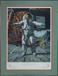 "Explorers:Space Exploration, Alan Bean Signed Limited Edition ""The Hammer and the Feather"" Color Print, #333/650, also Signed by Dave Scott, in Framed Disp..."