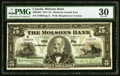 Canadian Currency, Montreal, PQ- The Molsons Bank $5 Jan. 2, 1912 Ch. # 490-32-02 PMGVery Fine 30.. ...
