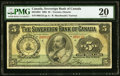 Canadian Currency, Toronto, ON- The Sovereign Bank of Canada $5 May 1, 1905 Ch. #685-10-04 PMG Very Fine 20.. ...