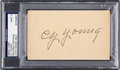 Baseball Collectibles:Others, Circa 1950 Cy Young Signed Index Card, PSA/DNA Mint 9....