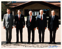 Photograph Signed by Five Presidents: Ronald Reagan, George H.W. Bush, Jimmy Carter, Richard Nixon & Gerald Ford...