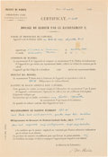 Autographs:Non-American, Marie Curie Laboratory Document Signed...
