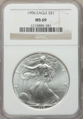 1996 $1 Silver Eagle MS69 NGC. NGC Census: (111108/333). PCGS Population: (8495/43). Mintage 3,603,386. ...(PCGS# 9900)