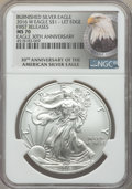 Modern Bullion Coins, 2016-W $1 Silver Eagle, Burnished, Lettered Edge, 30th Anniversary, First Releases, MS70 NGC. NGC Census: (0). PCGS Populat...
