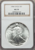 1986 $1 Silver Eagle MS70 NGC. NGC Census: (2232). PCGS Population: (137). MS70. Mintage 5,393,005. ...(PCGS# 9801)
