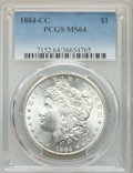 1884-CC $1 MS64 PCGS. PCGS Population: (18856/10552). NGC Census: (9808/5387). CDN: $215 Whsle. Bid for problem-free NGC...