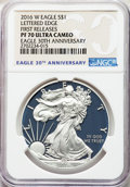 Modern Bullion Coins, 2016-W $1 Silver Eagle, Lettered Edge, 30th Anniversary, First Strike, PR70 Ultra Cameo NGC. NGC Census: (12005). PCGS Popu...