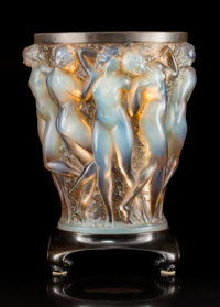 R. Lalique Opalescent Glass Bacchantes Vase with Sepia Patina on Bronze Stand Cir
