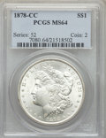 1878-CC $1 MS64 PCGS. PCGS Population: (7431/2590). NGC Census: (4833/1440). CDN: $425 Whsle. Bid for problem-free NGC/P...