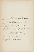 Baseball Collectibles:Others, 1915 Albert Spalding Signed Book to His Grandson....