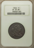 Large Cents: , 1802 1C VF25 NGC. NGC Census: (33/148). PCGS Population: (60/385). VF25. Mintage 3,435,100. ...