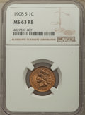 Indian Cents: , 1908-S 1C MS63 Red and Brown NGC. NGC Census: (92/395). PCGS Population: (279/688). CDN: $400 Whsle. Bid for problem-free N...