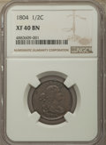 1804 1/2 C Plain 4, No Stems XF40 NGC. NGC Census: (0/0). PCGS Population: (116/603). CDN: $325 Whsle. Bid for problem-f...