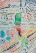 Works on Paper:Contemporary, Tal R (b. 1967). Untitled. Crayon on paper. 15-3/8 x 10-1/2 inches (39.1 x 26.7 cm). Signed lower center: T.R. PRO...