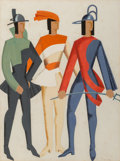 Fine Art - Work on Paper:Watercolor, Alexandra Exter (1884-1949). Trois Hommes - Don Juan(costume study), 1929. Gouache over pencil on paper. 25 x 19inches...