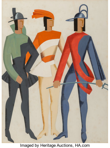 Alexandra Exter (1884-1949) Trois Hommes - Don Juan (costume study), 1929 Gouache over pencil on paper 25 x 19 inches...