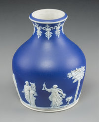 A Brownhills Blue Jasperware Muses Vase, Tunstall, England, circa 1891-1896 Marks