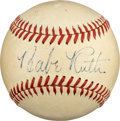 Baseball Collectibles:Balls, 1943 Babe Ruth Single Signed Baseball, PSA/DNA EX-MT 6....
