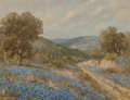Fine Art - Painting, American, Porfirio Salinas (American, 1910-1973). Bluebonnets. Oil oncanvas. 9 x 12 inches (22.9 x 30.5 cm). Signed lower left: ...