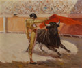 Fine Art - Painting, American, Porfirio Salinas (American, 1910-1973). Bull Fighter -Gaona. Oil on canvas. 20 x 24 inches (50.8 x 61.0 cm). Signedlow...