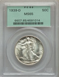 A Lot of Eight 1939-D Walking Liberty Half Dollars MS65 PCGS. Six of the coins are housed in green label holders. Two ar...