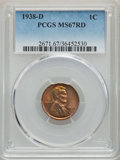 1938-D 1C MS67 Red PCGS. PCGS Population: (454/1). NGC Census: (796/1). CDN: $85 Whsle. Bid for problem-free NGC/PCGS MS...