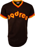 Baseball Collectibles:Uniforms, 1980 Ozzie Smith Game Worn San Diego Padres Jersey....