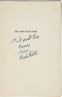 """1948 Babe Ruth Signed """"The Babe Ruth Story"""" Book, PSA/DNA NM-MT 8"""