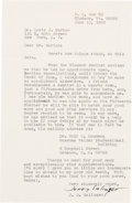 Autographs:Authors, J.D. Salinger Typed Letter Signed...