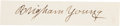 Autographs:Celebrities, Brigham Young Clipped Signature. ...