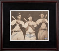 Baseball Collectibles:Photos, 1990's Joe DiMaggio, Mickey Mantle and Ted Williams SignedOversized Sepia Print....