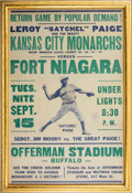 Baseball Collectibles:Others, 1942 Negro League Broadside with Satchel Paige....