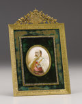 Decorative Arts, British:Other , King Edward VII Portrait Miniature . Probably French, circa1910. The oval miniature painted on ivory depicting Edward...