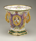 Ceramics & Porcelain, British:Other , Copeland Edward VII Ceramic Coronation Two-handled Cup.1910. Of flared design on a spreading base, featuring theroya...