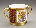 Ceramics & Porcelain, British:Other , Paragon Queen Elizabeth II Porcelain Coronation Loving Cup.1953. Cylindrical, one side decorated with the Royal Coat...