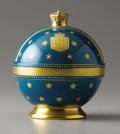 Decorative Arts, British:Other , Minton Bone China Elizabeth II Covered Box in the Form of an Orb.1953. Of teal blue porcelain decorated with royal em...