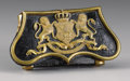 Royal Memorabilia:British, British Leather Cartridge Box . 19th century. With Royalemblem of two lions flanking a shield above inscription, on ...