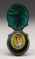 Royal Memorabilia:British, Royal Portrait Miniature of Young Queen Victoria. Circa1840. Of verre églomisé, facing the viewer wearing a goldcrow... (Total: 2 Items)
