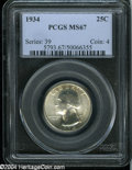 Washington Quarters: , 1934 25C Medium Motto MS67 PCGS....