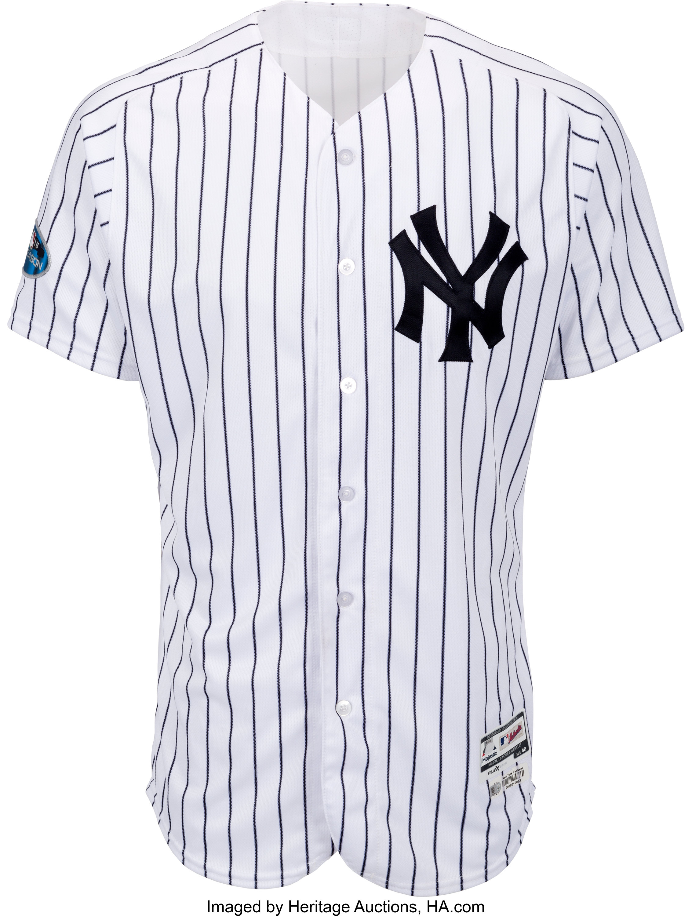 e477192a 2018 Andrew McCutchen Game Worn New York Yankees Jersey Used 10/3   Lot  #56505   Heritage Auctions