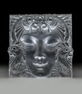 Glass, Lalique Frosted Glass Masque de Femme Plaque. Post-1945. Ht. 12-1/2 in.. ...