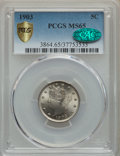 Liberty Nickels, 1903 5C MS65 PCGS Gold Shield. CAC. PCGS Population: (244/118). NGC Census: (173/60). MS65. Mintage 28,006,724....