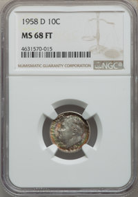 1958-D 10C MS68 Full Bands NGC. NGC Census: (13/0). PCGS Population: (3/0). Mintage 136,564,608. ...(PCGS# 85117)